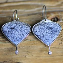 kolczyki,srebro,agat dendrytowy - Kolczyki - Biżuteria