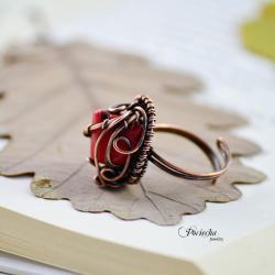 pierścionek,koral,koralowiec,retro,miedź,klasyka - Pierścionki - Biżuteria