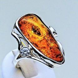 pierścionki srebrne,pierścionki z bursztynem - Pierścionki - Biżuteria