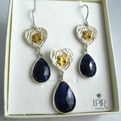 Komplet biżuterii srebrnej z szafirami - Komplety - Biżuteria