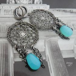 koronkowe kolczyki,dreamcatcher,iwogg - Kolczyki - Biżuteria