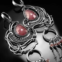 srebrne,kolczyki,wire-wrapping,rubin,rubiny,ciba - Kolczyki - Biżuteria