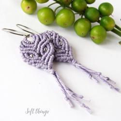 kolczyki wiszące,makrama,len,soft things - Kolczyki - Biżuteria