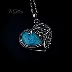 Srebrne serce z amazonitem,wire wrapping. - Wisiory - Biżuteria