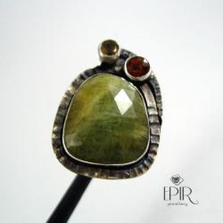 Pierścionek srebrny z szafirem i granatem - Pierścionki - Biżuteria