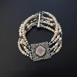 srebrna,bransoletka,z kwarcem,perłowa - Bransoletki - Biżuteria