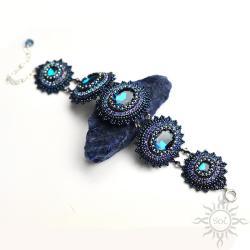 ekskluzywna,granatowa,misterna,z kryształami - Bransoletki - Biżuteria