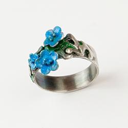 pierścionek,srebrny,kwiaty,romantyczny,emaliowany - Pierścionki - Biżuteria