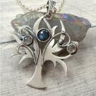 Naszyjniki srebrny naszyjnik,drzewo,fantasy,labradoryt