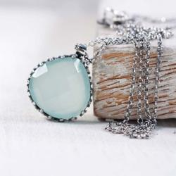Srebrny naszyjnik z chalcedonem - Naszyjniki - Biżuteria