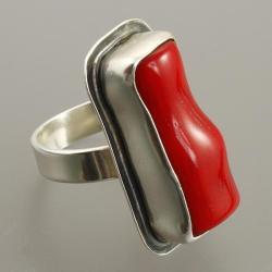 pierścionek z koralem - Pierścionki - Biżuteria