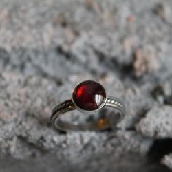 srebro pierścionek granat filigran retro vintage - Pierścionki - Biżuteria