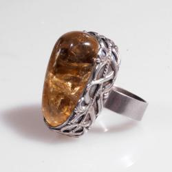 pierścień,srebrny,cytryn,surowy,oksydowany,ornamen - Pierścionki - Biżuteria