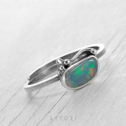 litori,handmade,pierścionek,opal,srebro - Pierścionki - Biżuteria