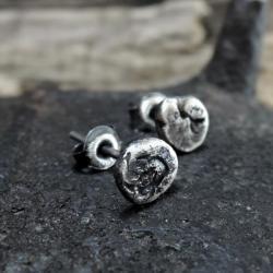 surowe srebrne kolczyki - Kolczyki - Biżuteria