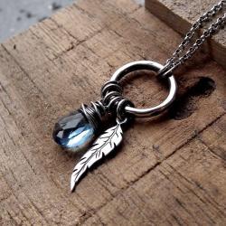 niebieski,z kółkiem,z piórkiem,oksydowany,srebrny - Naszyjniki - Biżuteria