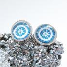 Kolczyki sztyfty srebrne,obrazkowe,srero 925,koło sterowe