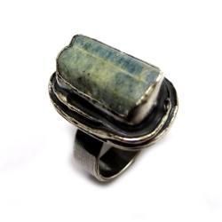 akwamaryn,srebrny,blask,niebo,klejnot,surowy, - Pierścionki - Biżuteria