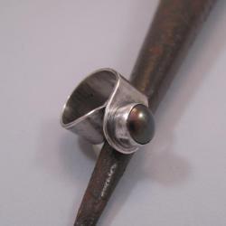 srebrny pierścień,czarna perła hodowlana - Pierścionki - Biżuteria