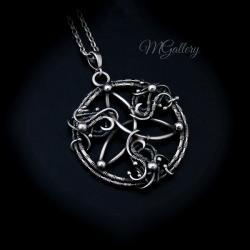 Srebrny wisior symbol triquetra wire wrapping - Wisiory - Biżuteria