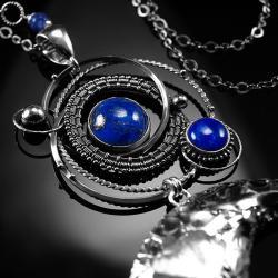 srebrny,naszyjnik,wire-wrapping,lapis lazuli,ciba - Naszyjniki - Biżuteria