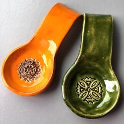 łycha,łyżka,ceramika,podstawka - Ceramika i szkło - Wyposażenie wnętrz