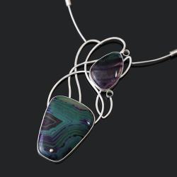 srebrny naszyjnik,naszyjnik z kamieniami - Naszyjniki - Biżuteria