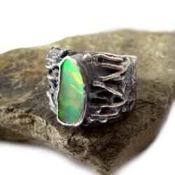 opal,blask,srebrny,srebro,zielony,tęczowy,unikat - Pierścionki - Biżuteria