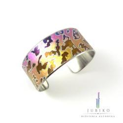 tytan,róż,gepard,lampart,ręcznie wykonana - Bransoletki - Biżuteria