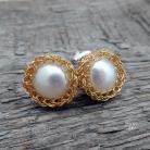 Kolczyki delikatne perły w srebrze złoconym