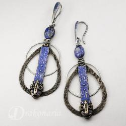maski,kolczyki,tribal,lapis lazuli,drakonaria - Kolczyki - Biżuteria