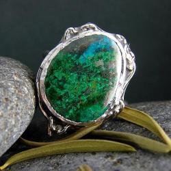 srebro,pierścionek,malachit,chryzokola - Pierścionki - Biżuteria