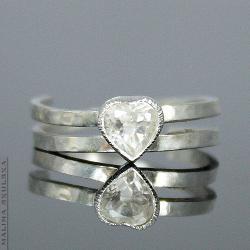 serce,topaz,młotkowany,prosty,elegancki,delikatny - Pierścionki - Biżuteria