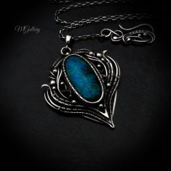 Srebrny wisior chryzokola wire-wrapping - Wisiory - Biżuteria