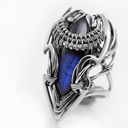 niebieski labradoryt,elficki,pierścionek,litori - Pierścionki - Biżuteria