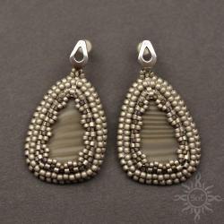 eleganckie,srebrne,krzemień pasiasty,sztyfty,szare - Kolczyki - Biżuteria