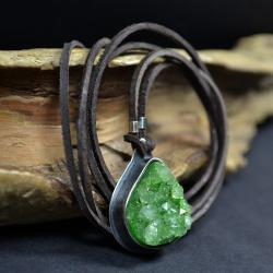 naszyjnik z druzą agatu,wisior w zieleni - Naszyjniki - Biżuteria