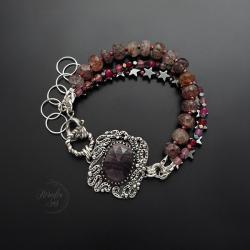 srebrna,bransoletka,z szafirem,z kwarcem - Bransoletki - Biżuteria
