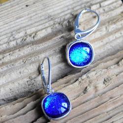 kolczyki,srebro,szkło dichroiczne,niebieski - Kolczyki - Biżuteria