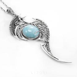 larimar,szafir,jyanit,z larimarem,niebieski - Naszyjniki - Biżuteria