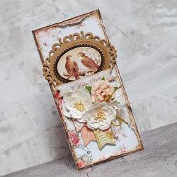 ślub,vintage,kwiaty,ptaszki - Kartki okolicznościowe - Akcesoria