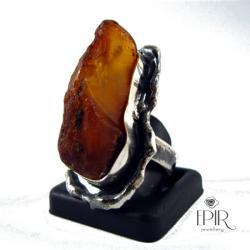 Pierścień srebrny z bursztynem - Pierścionki - Biżuteria