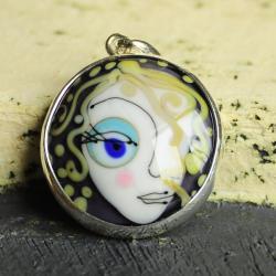 srebro,wisior,szkło,oko,spojrzenie,profil, - Wisiory - Biżuteria