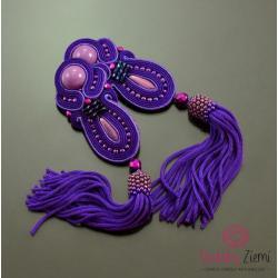 chwosty,bardzo długie fioletowe,fioletowe chwosty - Kolczyki - Biżuteria