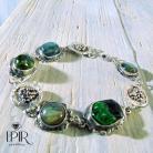 Bransoletki Bransoletka srebrna z zielonymi kamieniami