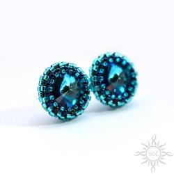 swarovski,niebieskie,drobne,okrągłe,z kryształami - Kolczyki - Biżuteria