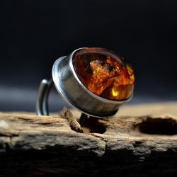 magiczny pierścień,pierścien z bursztynem - Pierścionki - Biżuteria