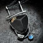 Naszyjniki Masywny wisior - srebro,surowy turmalin i labrado