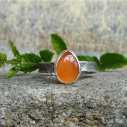 pomarańczowy,karneol,drobny,delikatny - Pierścionki - Biżuteria