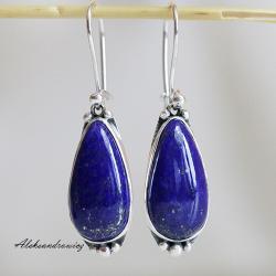srebro,lapis lazuli - Kolczyki - Biżuteria